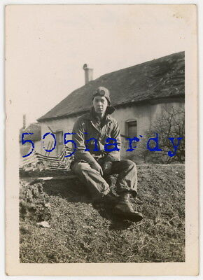 WWII US GI Photo - ID'd 6th Armored GI w/ Welding Goggles Eschweiler Luxembourg