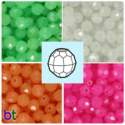 BeadTin Glow 10mm Faceted Round Plastic Craft Beads (210pcs) - Color choice