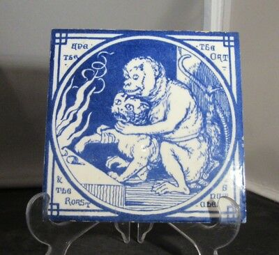 Minton China Aesop Fables Tile Blue Ca 1880 The Cat The Ape The Roast Chestnuts