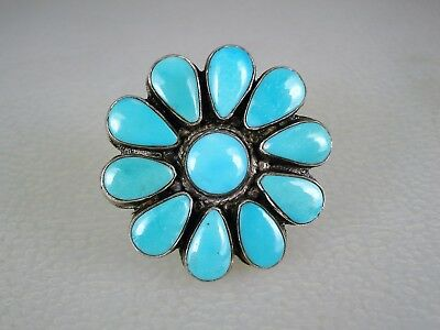 OLD NAVAJO STERLING SILVER & SLEEPING BEAUTY TURQUOISE CLUSTER RING sz 7.5
