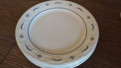 "One Longaberger Woven Traditions Classic Blue dinner plate, 10"" across."