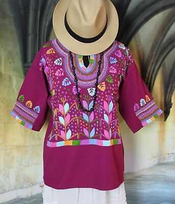 Mexican Blouse Corn Motif Maroon & Pastel Colors Hand Embroidered Hippie Cowgirl