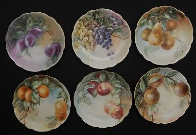 "SET of 6 ANTIQUE M&Z MORITZ ZDEKAUER AUSTRIA HAND PAINTED FRUIT PLATES 8"" WIDE"