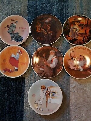 Norman Rockwell Christmas Collector Plates Lot Of 7 With COA:...