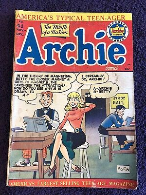 Archie #41 (1949, Archie). Classic Betty Headlights Cover! Mermaid, swimsuit!