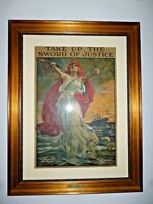 Wwi British Poster Take Up The Sword Of Justice Lusitania Sinking Print 6/1915