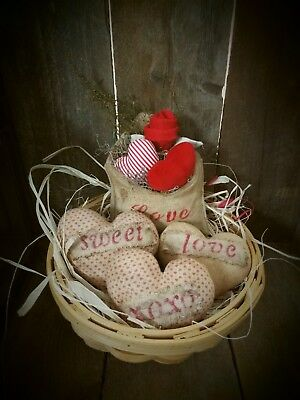 Primitive Hearts and Envelope  Bowl fillers / Tucks /Decoration/ Valentines Day