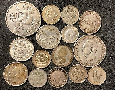 Vintage WORLD Silver Coin Lot - 1894-1960 - 15 Silver Coins - Lot #J20