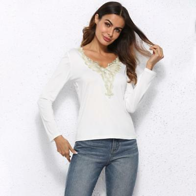 New Women V-Neck Long Sleeve Lace Up Shirt Casual Blouse Tops Loose T Shirt Shan