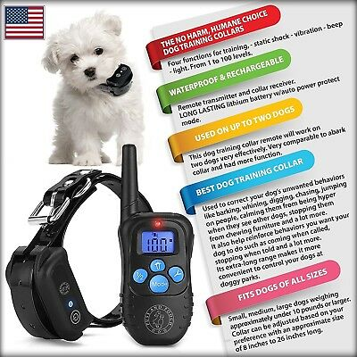 Rechargeable No Bark Dog Training Collar W/ Remote, 3 Mode Shock Collar for Dogs