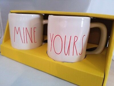 """Rae Dunn - """"MINE"""" & """"YOURS"""" Mug - Red Letters - Valentine's Day - Brand New"""