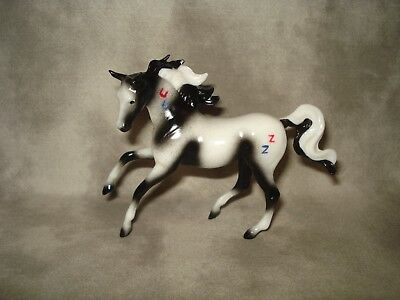 Breyer CM Glossy Decorator Black/White Pinto With War Paint Magnolia Stablemate