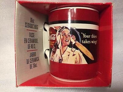 NIP 1996 Coca-Cola nostalgic Aviator 16 oz. ceramic mug Your Thirst Takes Wings