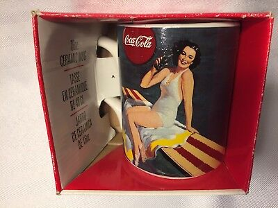 NIP 1996 Coca-Cola Pin-Up nostalgic 'Sunbather' 16 oz. ceramic mug!
