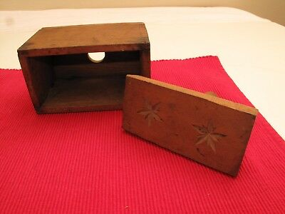 Aafa Antique Primitive Wooden Double Star Butter Stamp Mold Press Cookie Pine