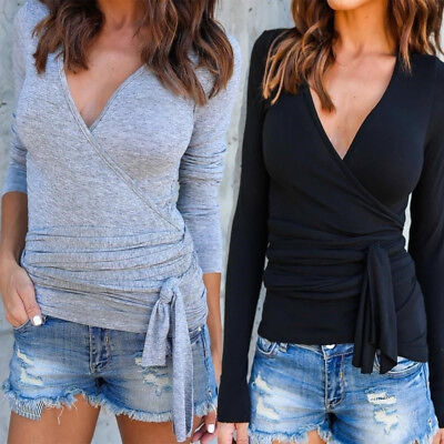 Sexy Ladies Elegant Deep V-neck Sweaters Solid Color T-shirt Sweat Blouse Shan