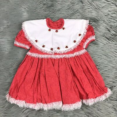 VTG 70s Handmade 12 Month Baby Toddler Red White Lace Trim Smocked Collar Dress