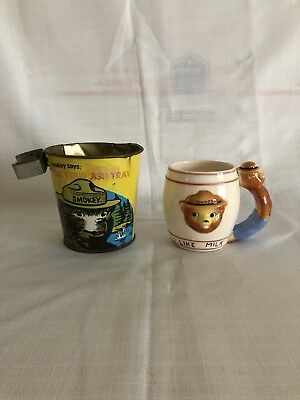Vintage 70's Lot Smokey The Bear Bucket Ashtray Keep America Green & Clean & Mug