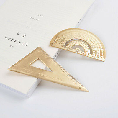 Copper Protractor Triangle Ruler Measurement School Stationery Office Shan