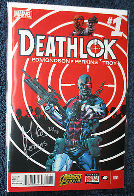 DEATHLOK #1 SIGNED in SILVER by Mike Perkins #32/74 w/COA DF Dynamic Forces