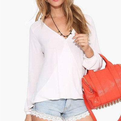 Long Sleeve V Neck Loose Blouse Ladies Casual T-Shirt Bottoming Tops Shan