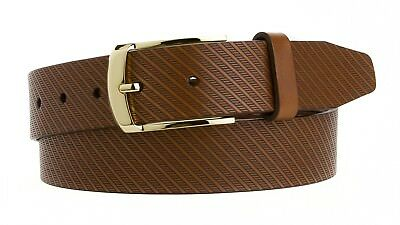 """Mens Dress Belt Made in USA Italian Leather with a Gold Plated Buckle 1 1/4"""""""