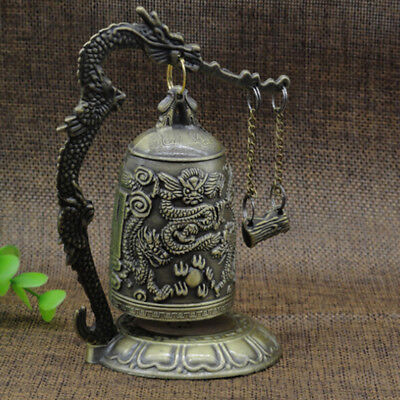 Zinc Alloy Bell Chinese Oriental Feng Shui Dragon Carved Buddhist Bell Shan