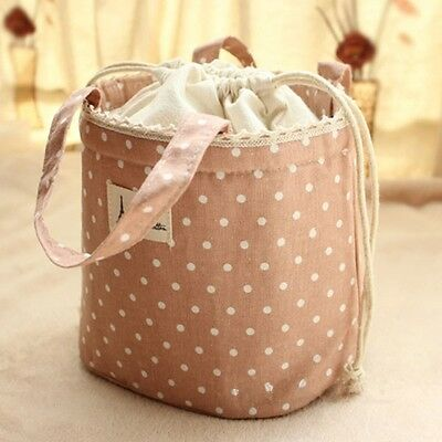 Drawstring Linen Thermal Insulated Lunch Box Cooler Bag Bento Pouch shan