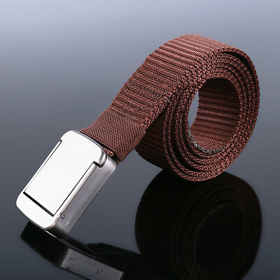 Men Tactical Thicken Canvas Belt Metal Buckle Weaving Waistband SA