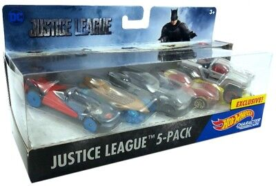 HOT WHEELS Exclusive Justice League 5-Pack Character CARS NEW 2017 DC Comic TOYS