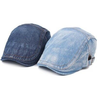 Men Water Washed Denim Made Cap Outdoor Sun Shade Hat Beret