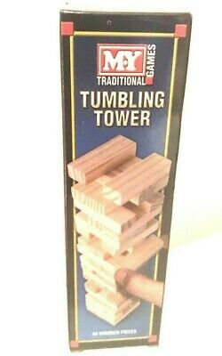 23CM TALL WOODEN STACKING TUMBLING TOWER TRADITIONAL BOARD GAME KIDS FAMILY 54pc