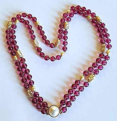 Vintage GRIPOIX French Designer NECKLACE Faux Pearls Wine Red Cabochons Unsigned