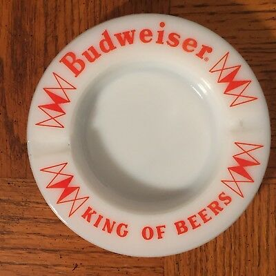 BUDWEISER ~ Vtg King Of Beers Ashtray Milk Glass White Red Bar 5""