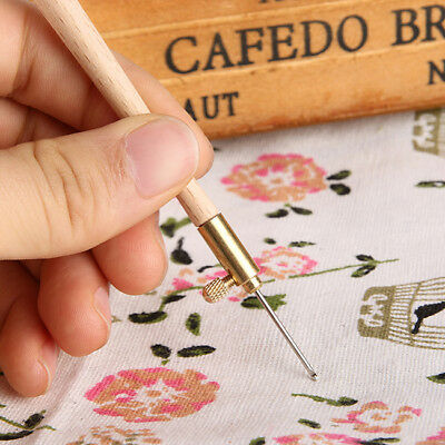 Wood Handle Tambour Metal Crochet Hook with 3 Needles Embroidery Beading Shan