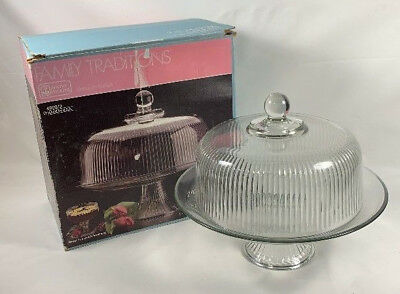 Anchor Hocking Monaco Cake Set with Ribbed Dome Punch Bowl IN BOX