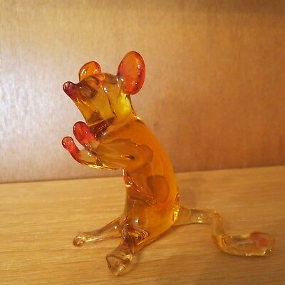 "Glass Mouse 3 1/4"" Darker Orange Ears, Nose, Front Feet REDUCED!!"