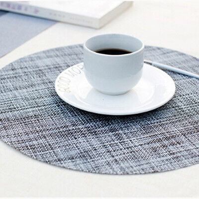 Simple Linen Style Round Non Slip Placemats Dining Table Mats SA