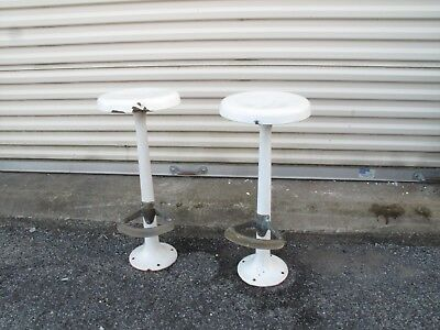 ART DECO Cast Iron.Brass Bar Stool Antique VTG Ice Cream Parlor Bar Diner WHITE