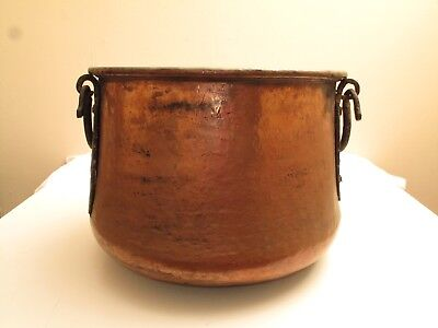 "Vtg Large Hand Hammered Copper Pot Vat Cauldron Wrought Iron Handles 19"" D"