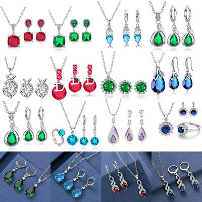 Women Fashion Crystal Pendant Jewelry Sets Silver Plated Earrings Necklace Prom