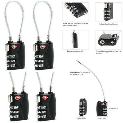 Resettable 3 Digit Combination Lock Padlock Travel Luggage Suitcase Security SS