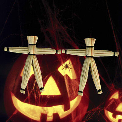 2pcs Mysterious Straw Voodoo Dolls Spooky Magic Tricks Props April Fools Day SA