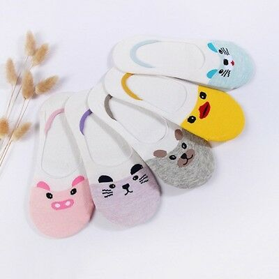 5 Pairs Women Invisible Nonslip Loafer Boat Liner Low Cut Animal Design Socks SA
