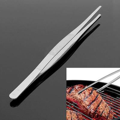 Silver 30CM Stainless Steel Long Food Tongs Straight Tweezers Kitchen Tool SA