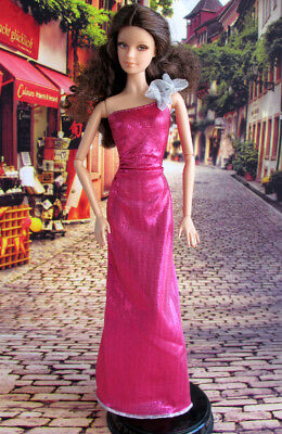 Barbie Doll One Shoulder Evening Dress Gown Outfit Clothes