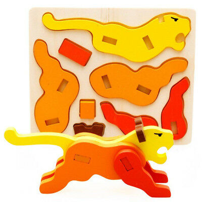 3D Wood Small Animal Child Assembly Jigsaw Puzzle Education Toys SA