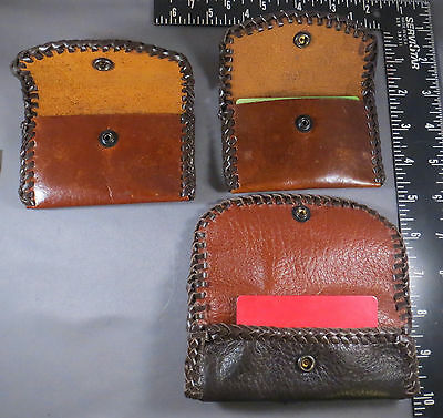 2 Brown Laced Leather Credit Card Cases, 1 Laced Deerhide Belt Pouch,  Handmade