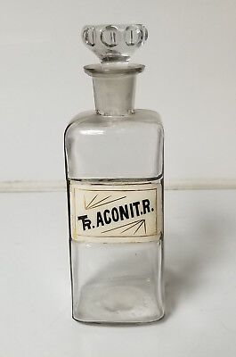 Antique Apothecary Bottle Ground Glass Stopper Rare Tr Aconit R.