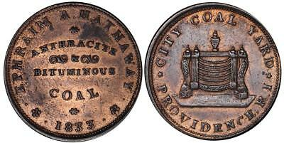 1833 Hard Times Token-Ephriam A Hathaway-Anthracite Coal-Rhode Island Ht 428-VF